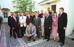 MEMBERS OF THE GOVERNMENT of the left-of-centre coalition with Prime Minister Ivica Racan at a photo op 100 days into their term in office