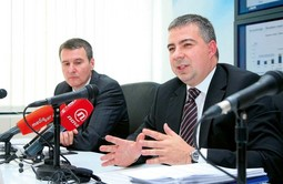 THE INA LEADERSHIP Zoltan Aldott with Bojan Milkovic, chief executive director of INA, at a press conference following a general stockholders meeting