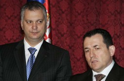 DRAGAN SUTANOVAC (left), the Serbian Defence Minister, signed an agreement on information exchange with NATO in October of 2008