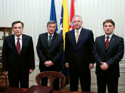 PREMIER SANADER has had solid cooperation with BiH to date; here shown with members of the BiH presidency BiH Silajdžić, Radmanović and Komšić