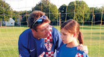 Tomislav Kuzmanovic, Mladen Markac's new defence attorney, with one of his three daughters wearing the jersey of the Croatian National Football Team