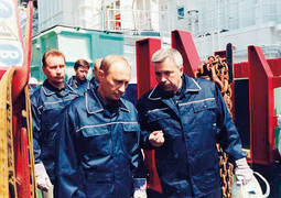 VLADIMIR PUTIN and Lukoil head Vagit Alekperov on one of the oil platforms in the Caspian Sea